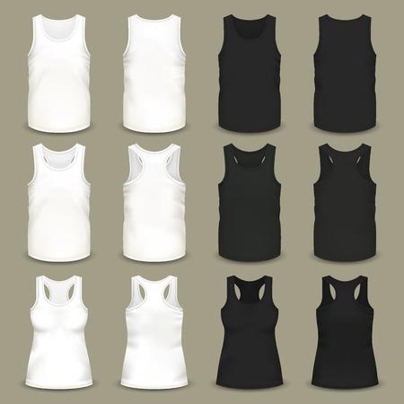 Conjunto de camisetas sin mangas aisladas para hombres y mujeres, ropa ajustada en blanco y negro para el verano, ropa volumétrica realista con cuello en U y escote en V. Atuendo deportivo y moda, tema textil.