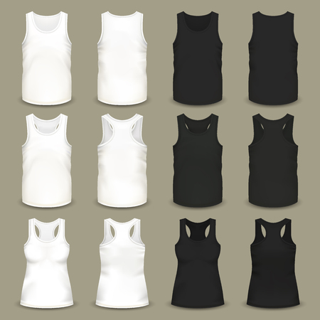 Set of isolated men and women sleeveless t-shirts, slim-fitting black and white clothing for summer, u-neck and v-neck realistic, volumetric apparel. Sport outfit and fashion, textile theme