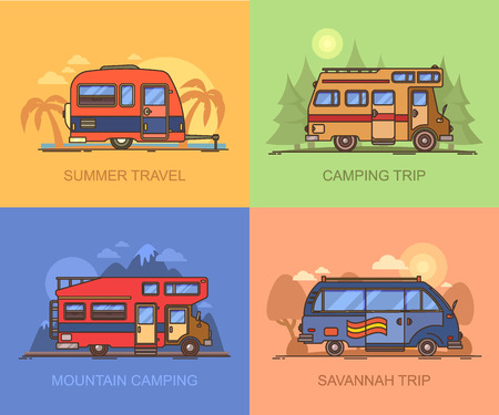 Set of auto transport for holiday recreation or vacation. Van for savannah trip. Lorry, truck for mountain camping. Campervan for wood adventure. Recreational vehicle for summertime Ilustração