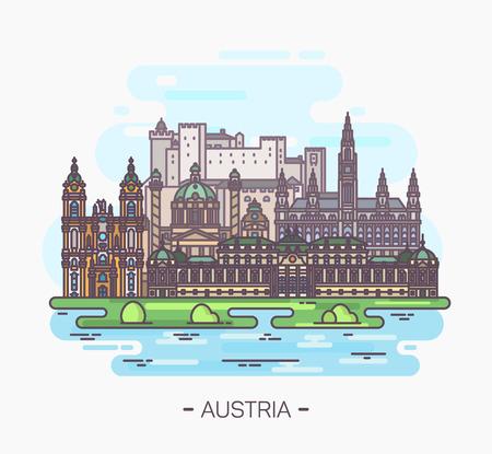 Panorama of Austria landmarks of Vienna, Salzburg Illustration