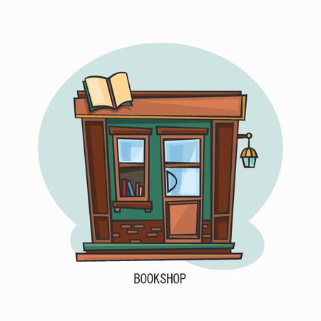 Edificio de librería o fachada de estructura de librería. Vista exterior de la tienda de literatura. Conocimiento y lectura, enseñanza y arquitectura, tema pedagógico. Ilustración de vector