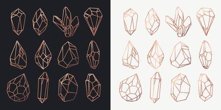 Satz von isolierten Steinen Umriss oder Felskontur, goldene Hohlform von Kristallen oder polygonalen Diamanten, Edelsteinausschnitt oder Struktur. Spielsymbol und Juwel. Thema Geologie und Reichtum, Luxus und Bergbau