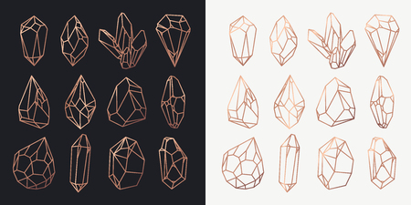 Set of isolated stones outline or rock contour, golden hollow shape of crystals or polygonal diamond, gemstone cutout or structure. Game icon and jewel. Geology and wealth, luxury and mining theme 写真素材 - 111997210