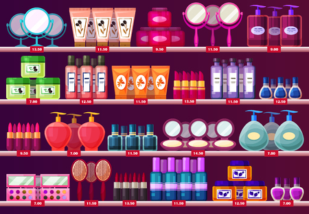 Shelves with woman cosmetic, beauty salon showcase