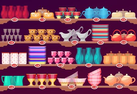 Shop or store showcase with kitchen dish, crockery Reklamní fotografie