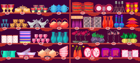 Escaparate de tienda o almacén con vajilla y decoración de casa para interior. Plato de cocina, platos, tazas con etiquetas de precio. Tema de comercialización y venta minorista