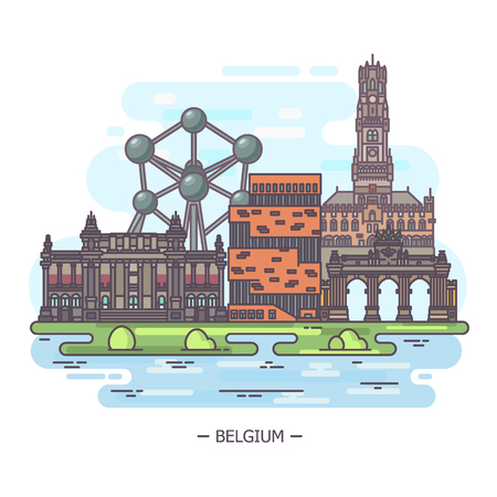 Landmark places of Belgium at one sight Ilustrace