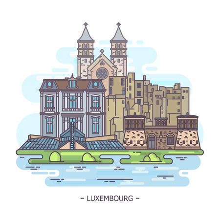 Historical and modern landmarks of Luxembourg, tourism theme