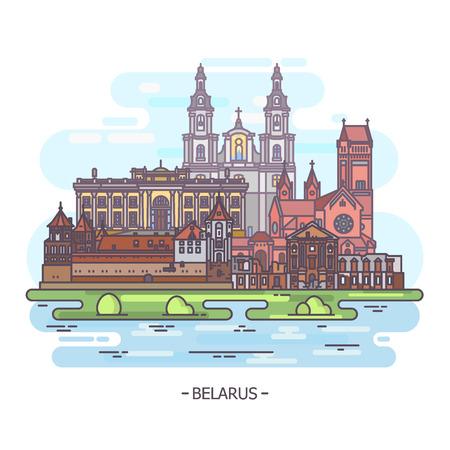 Sight of famous Belarus landmarks, turism theme