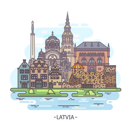 Latvian architecture buildings 向量圖像