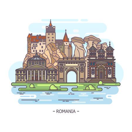 Monuments or Romania landmarks Illustration