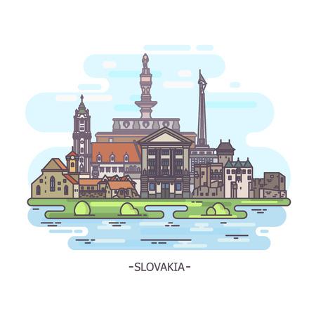 Slovakia historical monuments Vektorové ilustrace