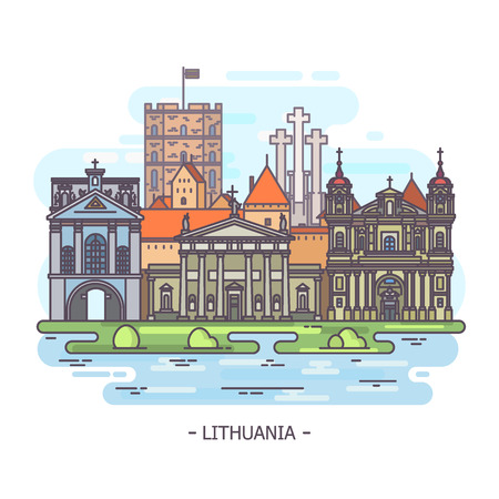Lithuanian monuments or Lithuania landmark Illustration