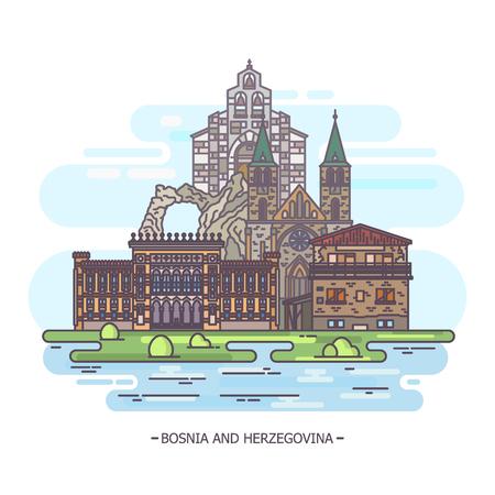 Landmarks of Bosnia and Herzegovina Stock Photo