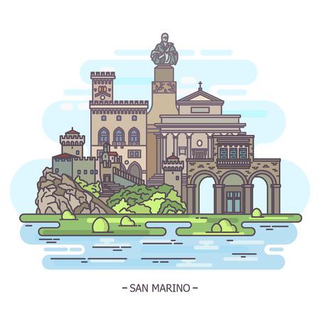 Landmarks of San Marino, architecture monuments, tourism theme Ilustração