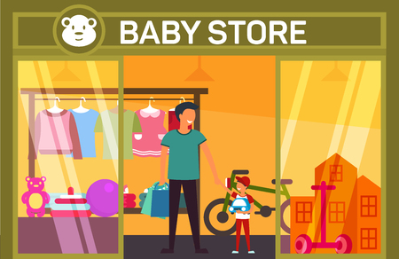 Father and son at baby shop with children items. Banco de Imagens