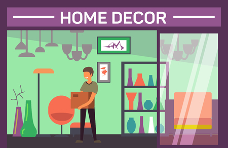 House decor shop with buyer and home accessories Banco de Imagens