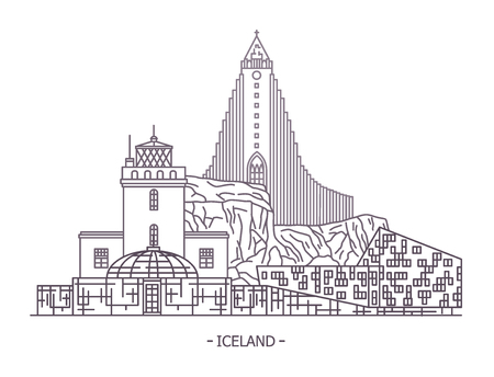 Icelandic landmarks. Hallgrimskirkja church at Reykjavik and Dyrholaey lighthouse, Perlan revolving restaurant, Harpa concert hall. Iceland architecture and traveling, tourism and country card theme Banco de Imagens - 127102297