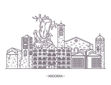 Andorran architecture landmark buildings. Esglesia Sant Esteve and Sant Joan Caselles church at Canillo. Andorra de vella, La Noblesse du temps by Salvador Dali. Architecture panorama, monuments Ilustração