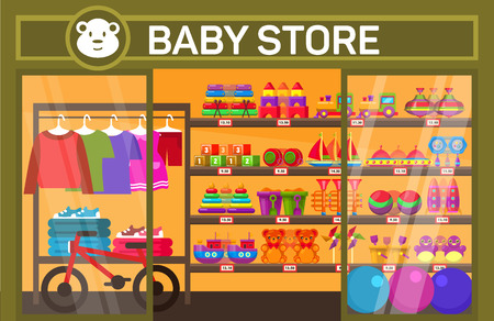 Showcase of baby shop with toys and clothes. Shelves with child stuff and plaything. Purchase and sale of goods theme Ilustração