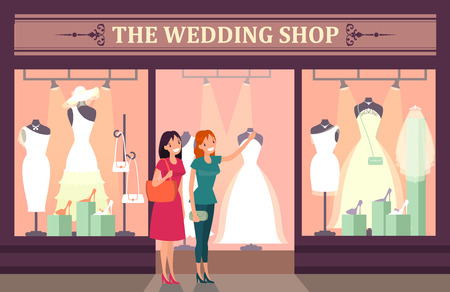 Woman choosing dress and shoes at wedding shop, preparations for the wedding