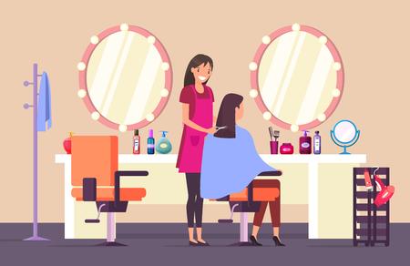 Donna al parrucchiere che fa taglio di capelli