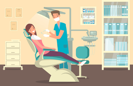 Dentist office with woman doing tooth treatment