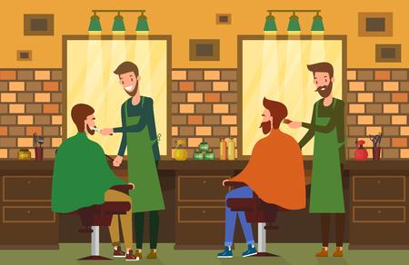 Indoor view at barbershop salon with barber and hairdresser. Ilustração