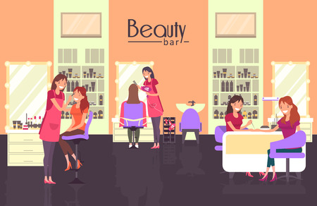 Beauty bar with nail master, haircutter and makeup artist Çizim