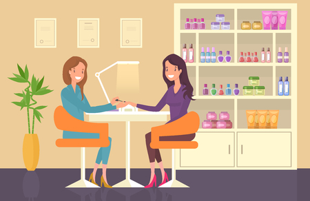 Nail master doing manicure. Nail care at beauty salon Illustration
