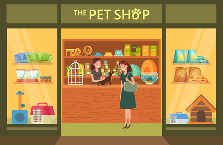 Pet shop interior with animals and goods