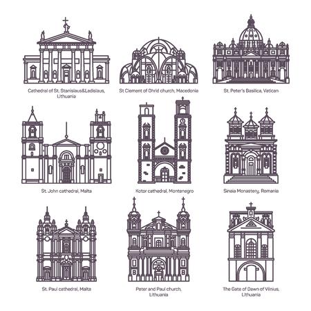 Satz isolierter Kirchen Europas in dünner Linie Vektorgrafik