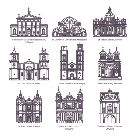 Set of isolated churches of europe in thin line Ilustración de vector