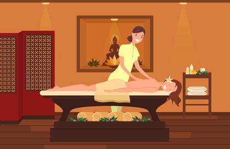 Woman at massage therapist cabinet. Massage session at Beauty salon
