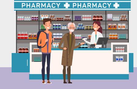 Personas en fila en la farmacia. Tema de salud y farmacia Ilustración de vector