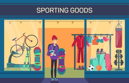 Acheteur au magasin d'articles de sport. Département des sports