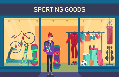 Buyer at sporting goods store. Sports department