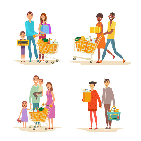 Set of family shopping. Characters of different nationalities with purchases. Purchase of grocery products and household goods. Word shoppping theme