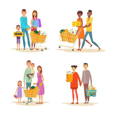Set von Familieneinkäufen. Charaktere verschiedener Nationalitäten mit Einkäufen. Einkauf von Lebensmittelprodukten und Haushaltswaren. Word-Shopping-Thema