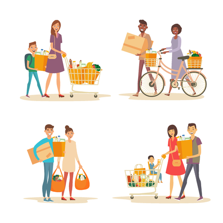 Set of interracial family shopping. Characters of different nationalities with purchases. Purchase of grocery products and household goods. Word shoppping theme Ilustração