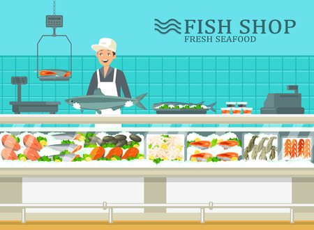 Fish shop interior. Showcase with fresh and frozen seafood. Selling of marine products at fishmarket.
