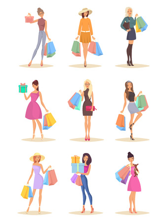 Set of isolated beautiful women characters with bags after shopping. Fashion and style theme Banco de Imagens - 125131346