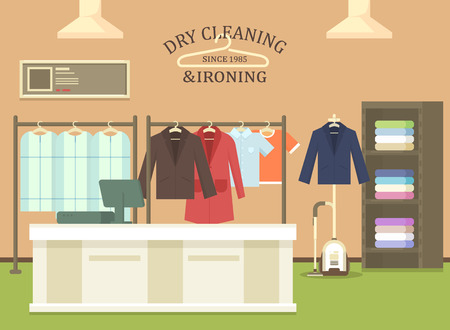 Dry cleaning and ironing shop interior view