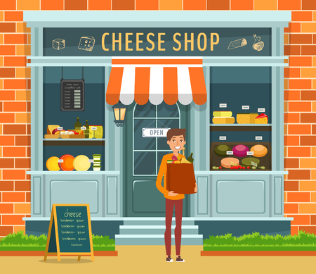 Exterior of cheese shop. Happy buyer with package of dairy products. Showcase with curds and milk bottles on shelves. Store of farm products, organic food.