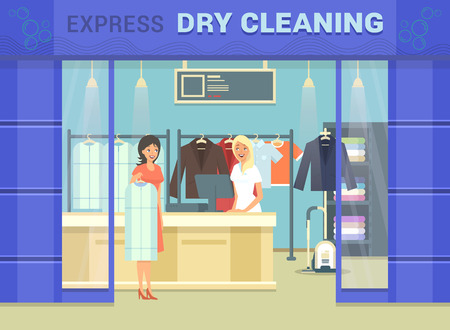Showcase of dry cleaning store with cloth