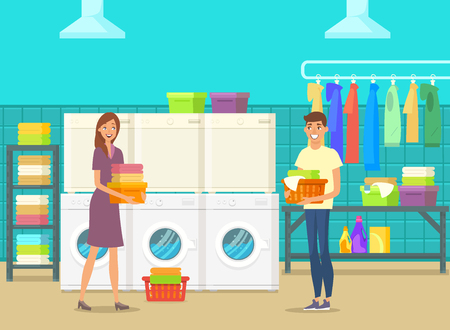Happy man and woman inside laundry room doing cloth washing. Self-service laundry with washing machines, drying chambers and chemical products. Laundromat for express aqua cleaning.