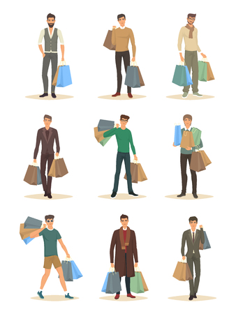 Set of isolated men with package during shopping