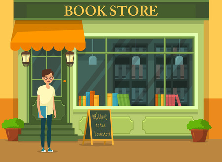 Bookstore showcase and man customer. Shop with books and student magazine. Store with literature. Bookshop and buyer or shopper. Building with bookshelf. Education and literature, architecture theme