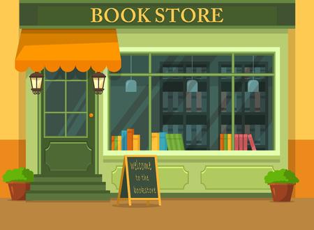 Vue extérieure sur librairie ou immeuble avec livres. Boutique ou magasin avec de la littérature pour l'éducation et la lecture. Vue extérieure sur vitrine avec étagère et bibliothèque. Thème d'étude et d'architecture