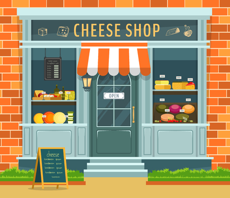 Exterior view on cheese shop counter or showcase. Food store stall with menu and parmezan, mozzarella piece and wine. Vegetarian market or building with healthy food, dairy. Grocery advertising banner